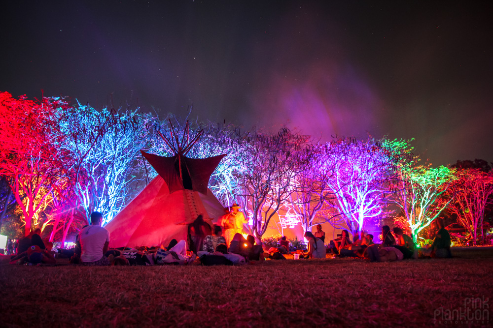 tipi and campfire at night at Festival Ometeotl