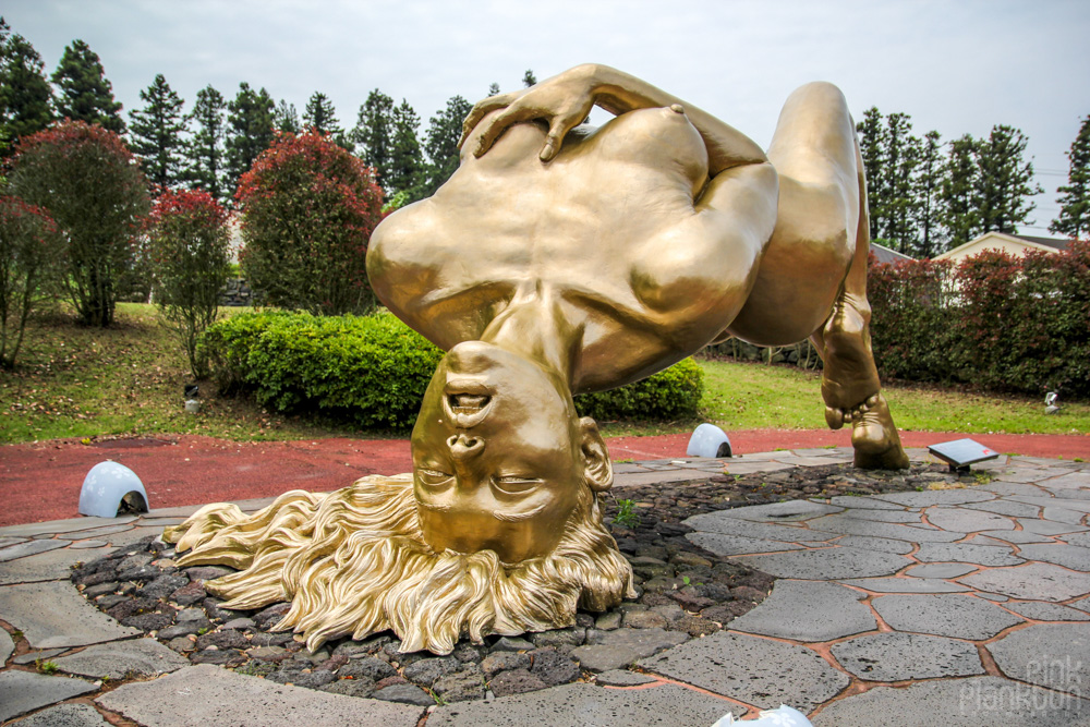 dirty statue of girl masturbating at Love Land in South Korea