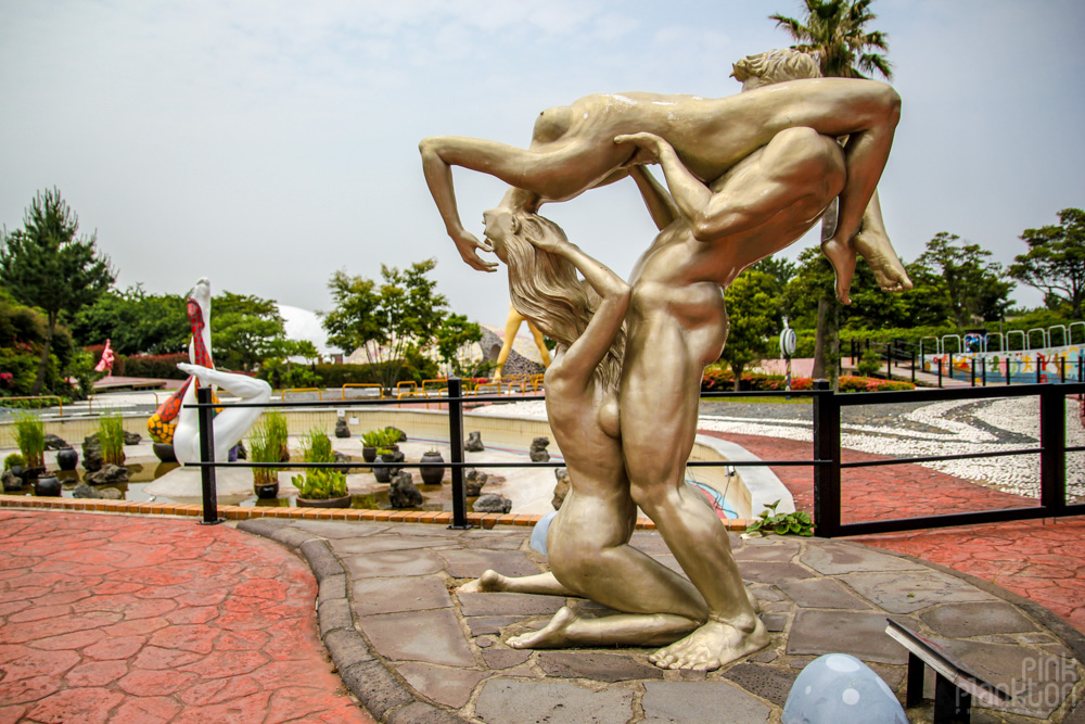 dirty statue of threesome at Love Land in South Korea