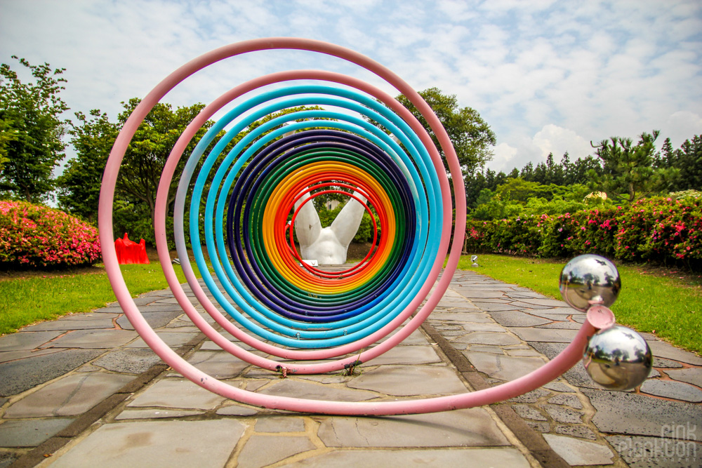 rainbow spiral statue at Love Land in South Korea