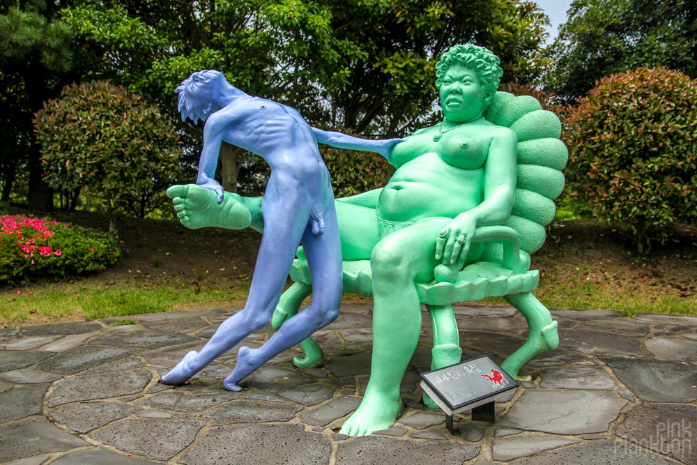 statue of female dominance at Love Land in South Korea