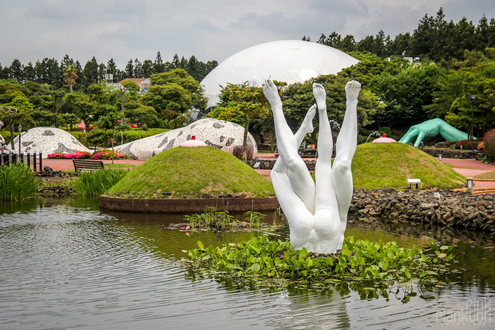 pond with naked legs at Love Land in South Korea