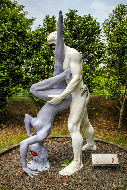 statue of two people having sex at Love Land in South Korea