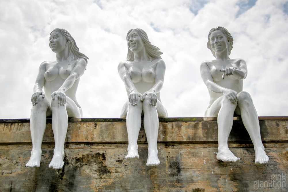 three naked girl statues at Love Land in South Korea