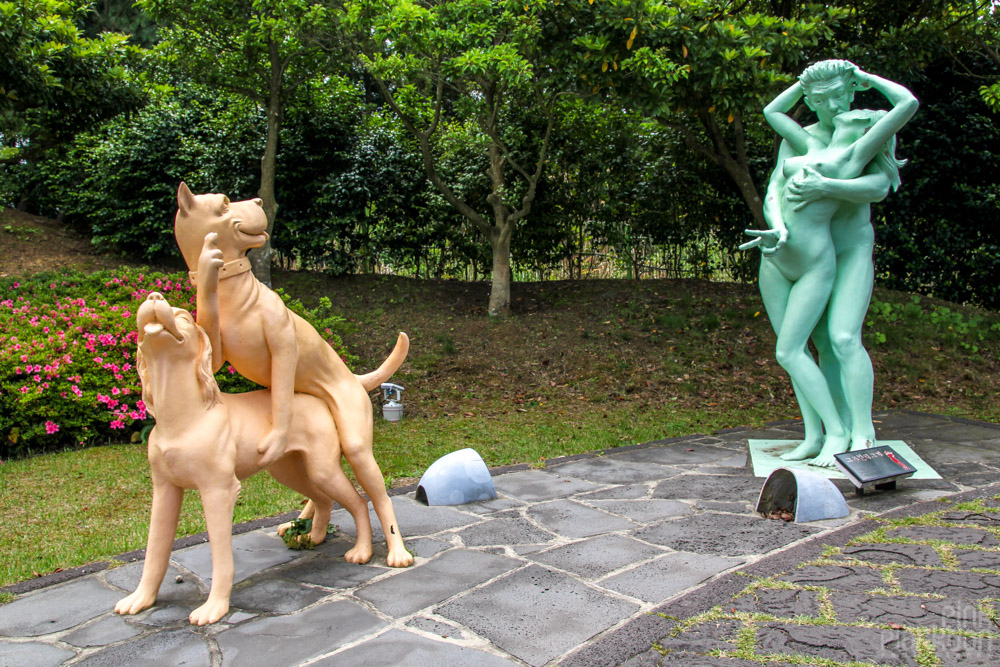 humans and dogs having sex statues at Love Land in South Korea