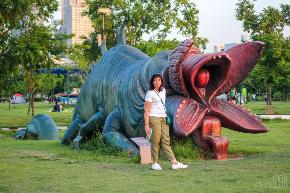 scary creature statue in Yeouido Hangang Park Seoul, South Korea