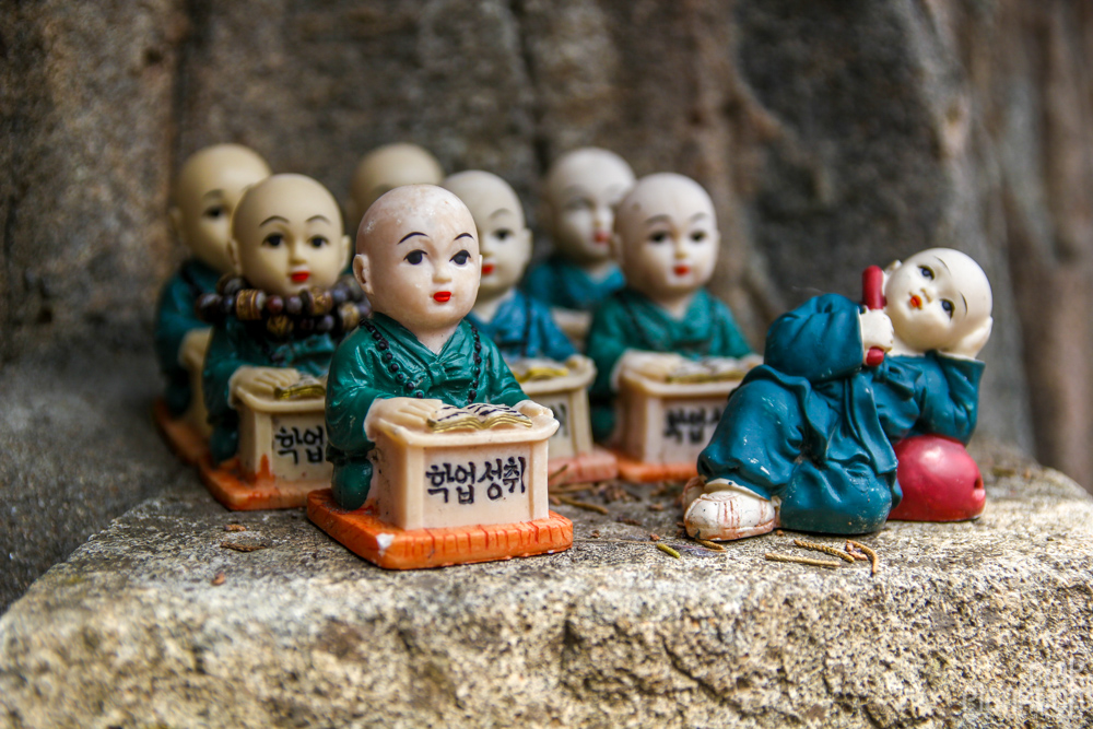 small figures in Haedong Yonggung Temple in Busan, South Korea