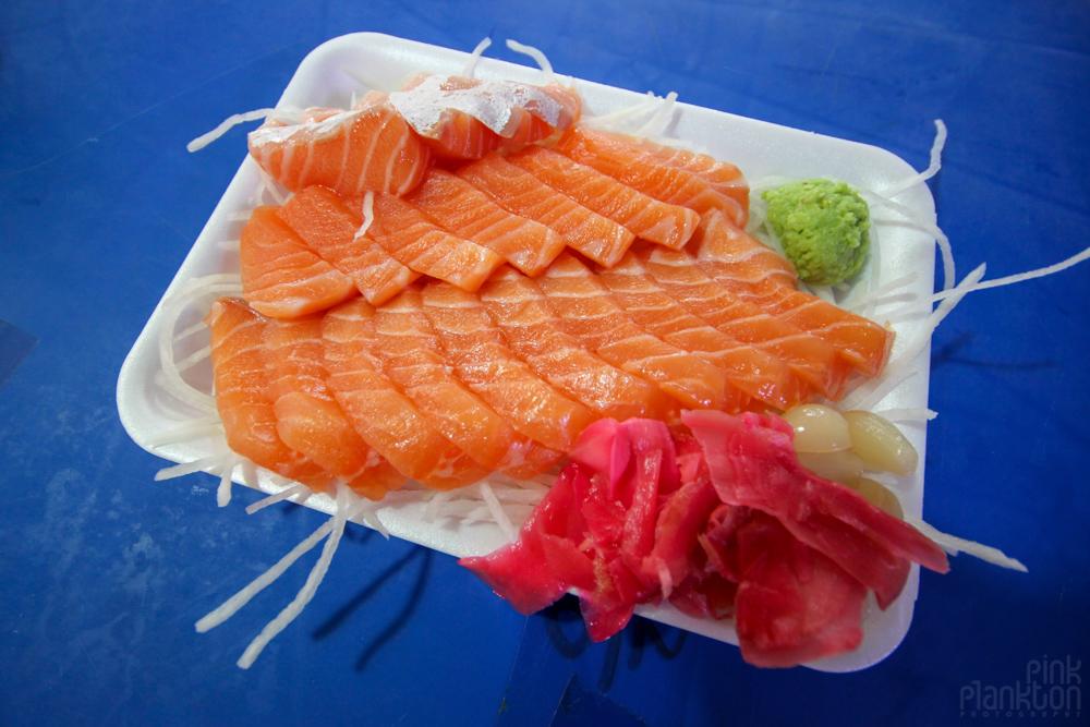 fresh sashimi in fish market in Seoul, South Korea