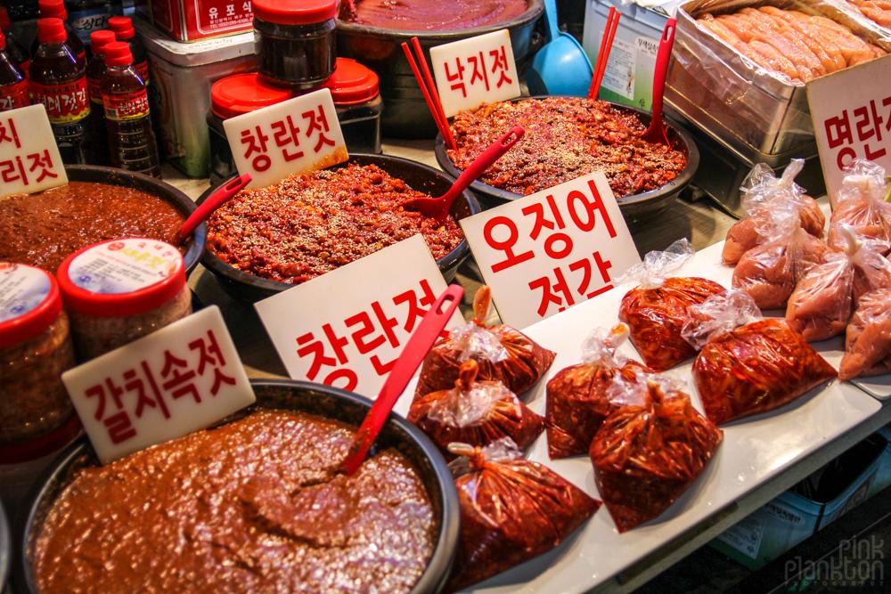 kimchi in market in Seoul