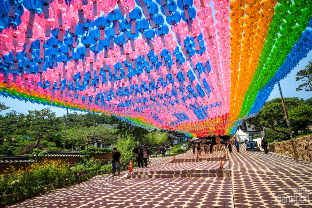 colorful lanterns at Jogyesa Temple in Seoul, South Korea