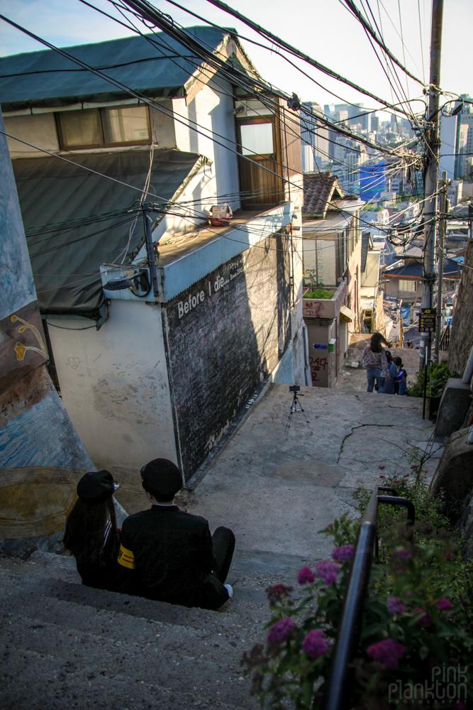 couple posing for photo in Mullae Art Village (Mullaedong) in Seoul, South Korea
