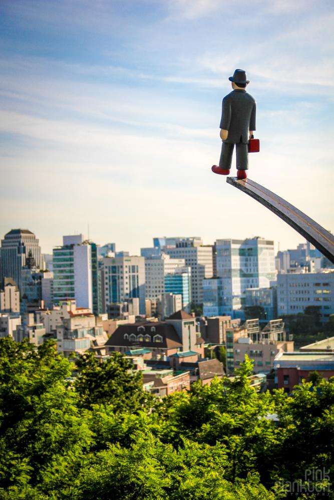 sculpture of man in Mullae Art Village (Mullaedong) in Seoul, South Korea