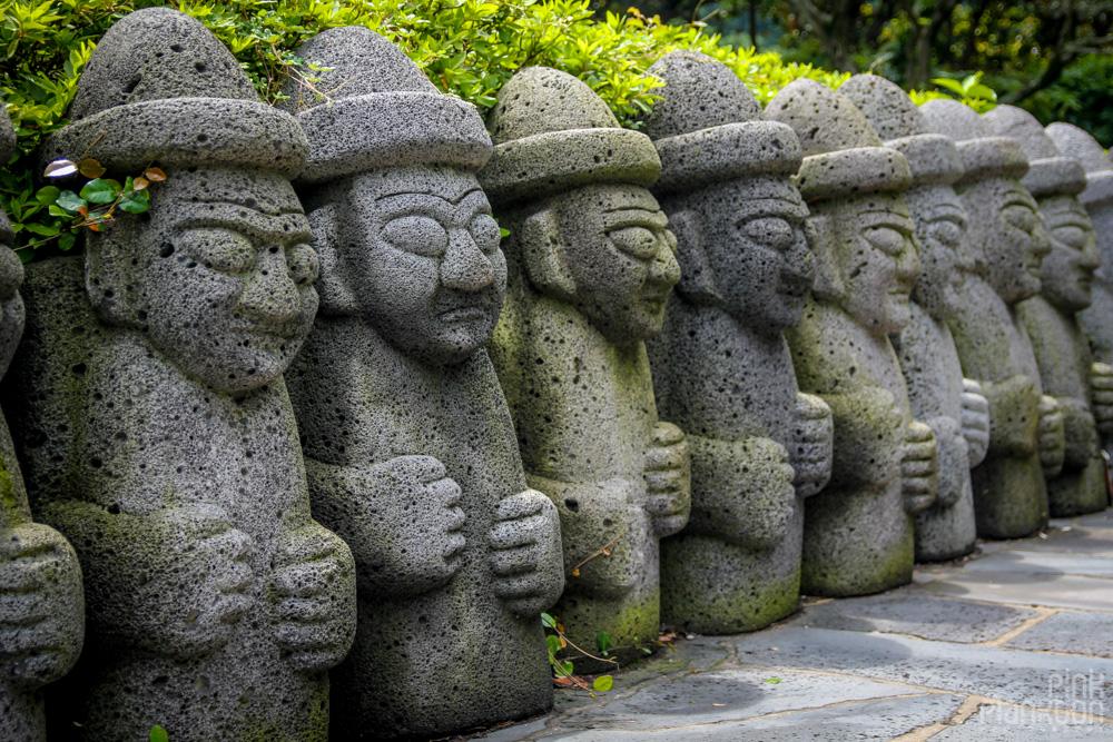 Dol Hareubang volcanic rock statues on Jeju Island
