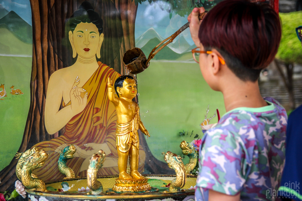 boy in buddhist temple in Korea