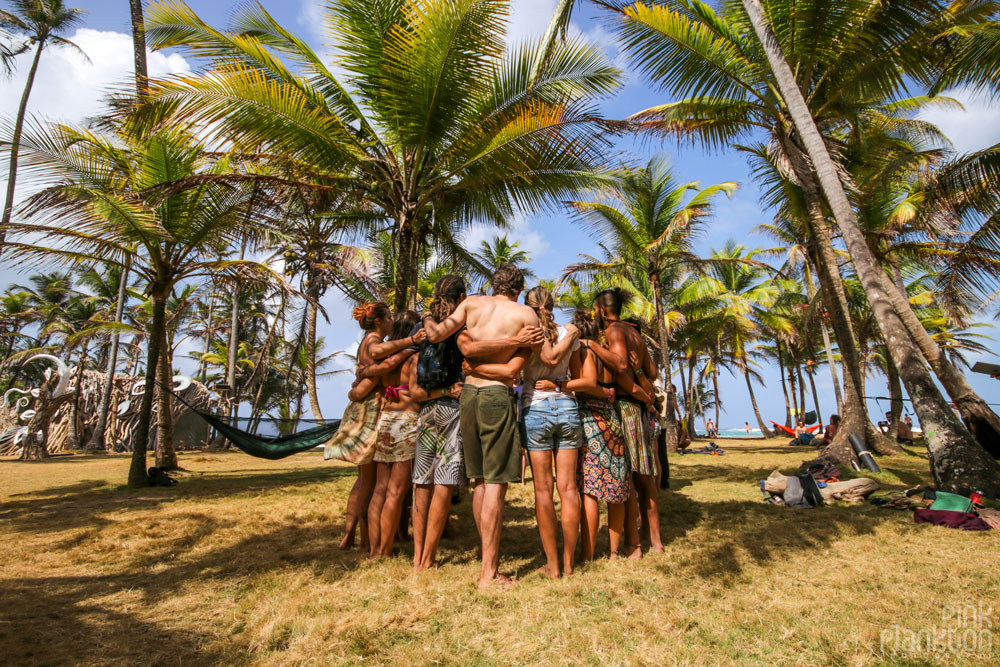 group hugging at Tribal Gathering Festival in Panama