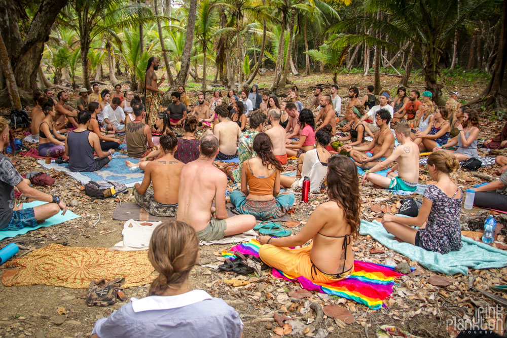 group meditation at tribal gathering festival