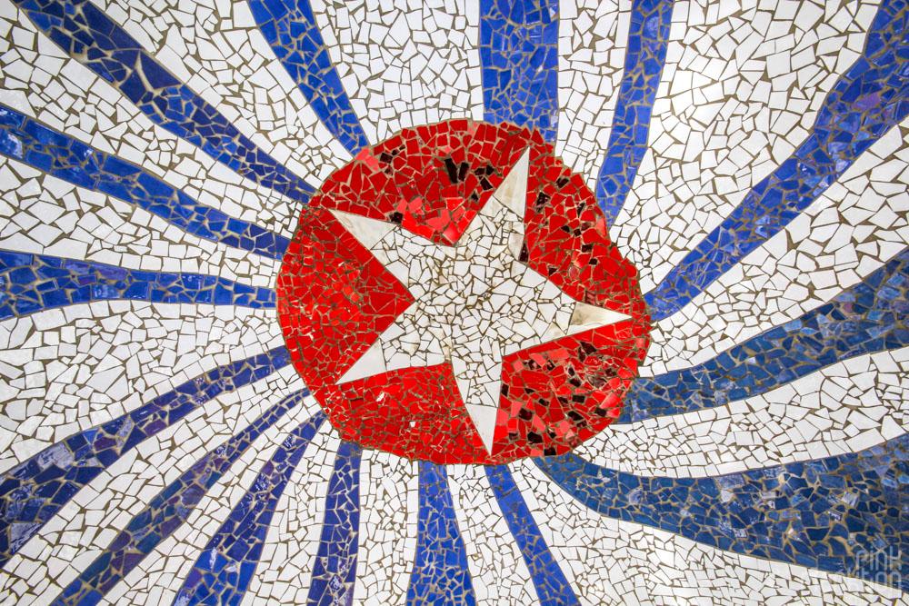 mosaic cuba flag at Fusterlandia in Havana Cuba