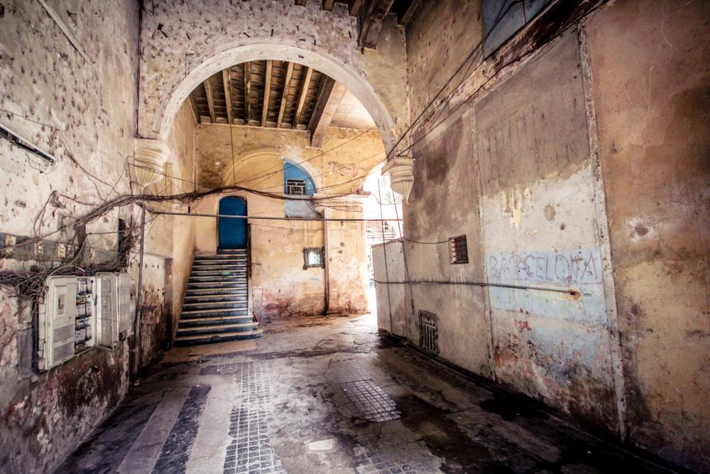 inside grungy building in Havana Cuba
