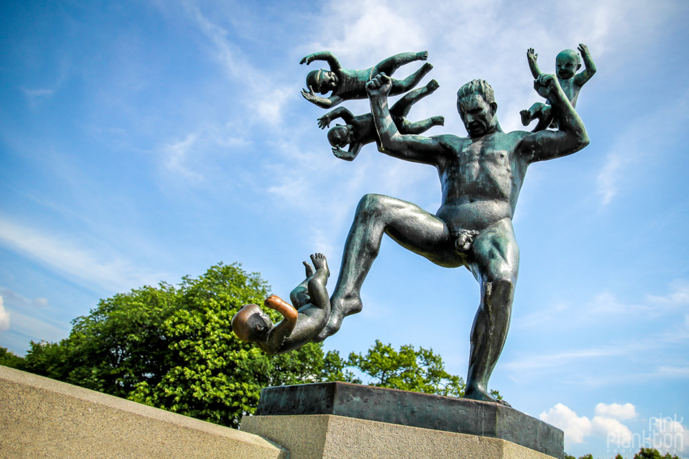 angry man throwing babies at Vigeland Sculpture Park in Oslo