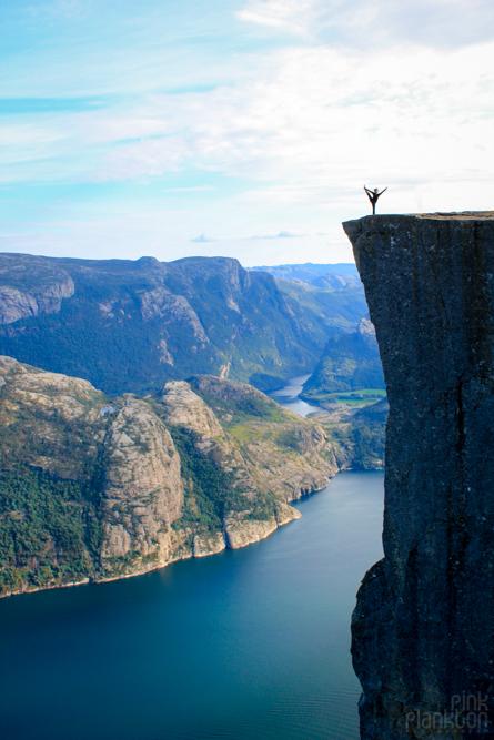yoga pose on Preikestolen in Norway