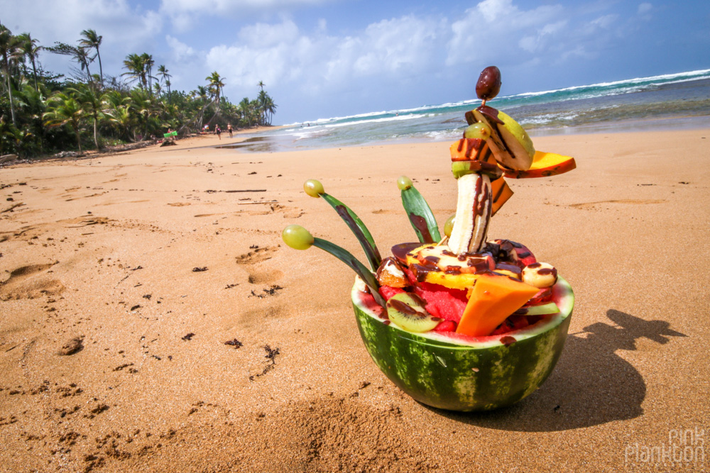 fruit bowl on beach at Tribal Gathering Festival
