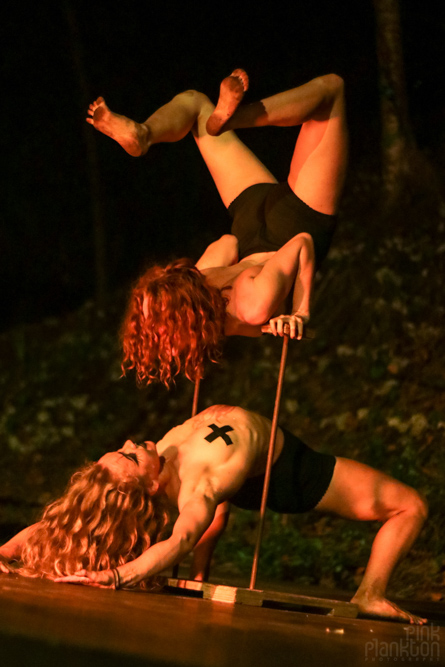 acrobatic performers at Tribal Gathering Festival