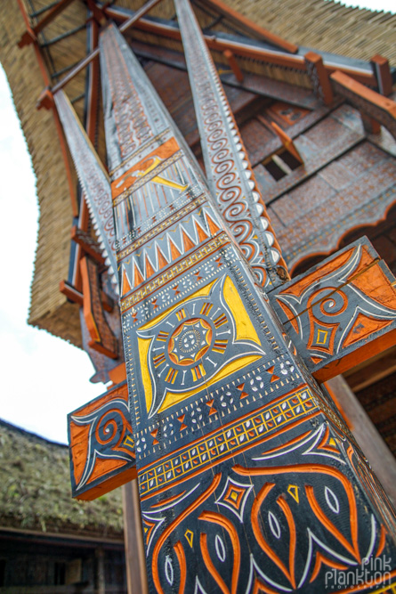 detailed painting on Tongkonan boat houses in Toraja village, Sulawesi