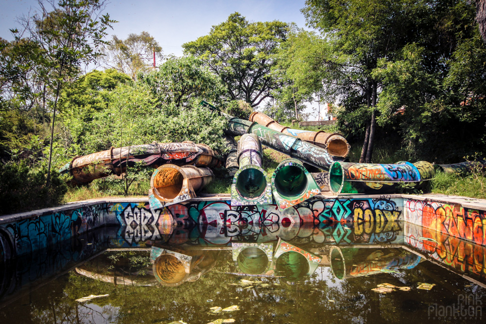 abandoned water slides at Atlantis Waterpark in Mexico City