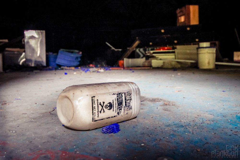 abandoned poison container at Atlantis Water Park in Mexico City