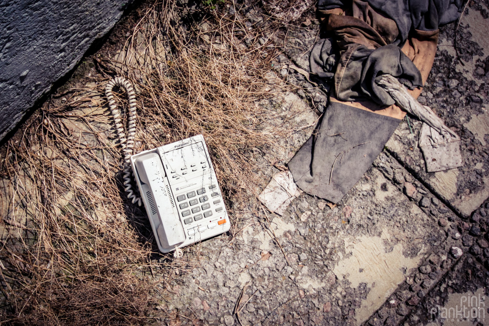 abandoned telephone at Atlantis Water Park in Mexico City
