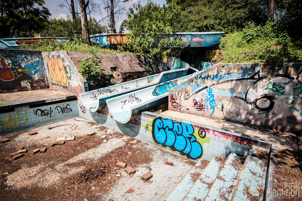 abandoned water slides at Atlantis Water Park in Mexico City