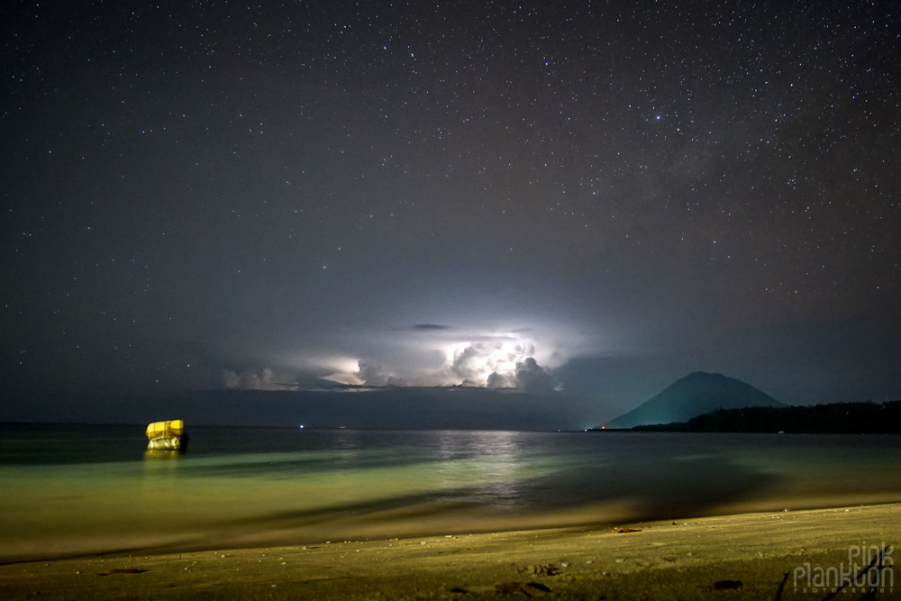 stars and thunderstorm on Bunaken Island, Sulawesii