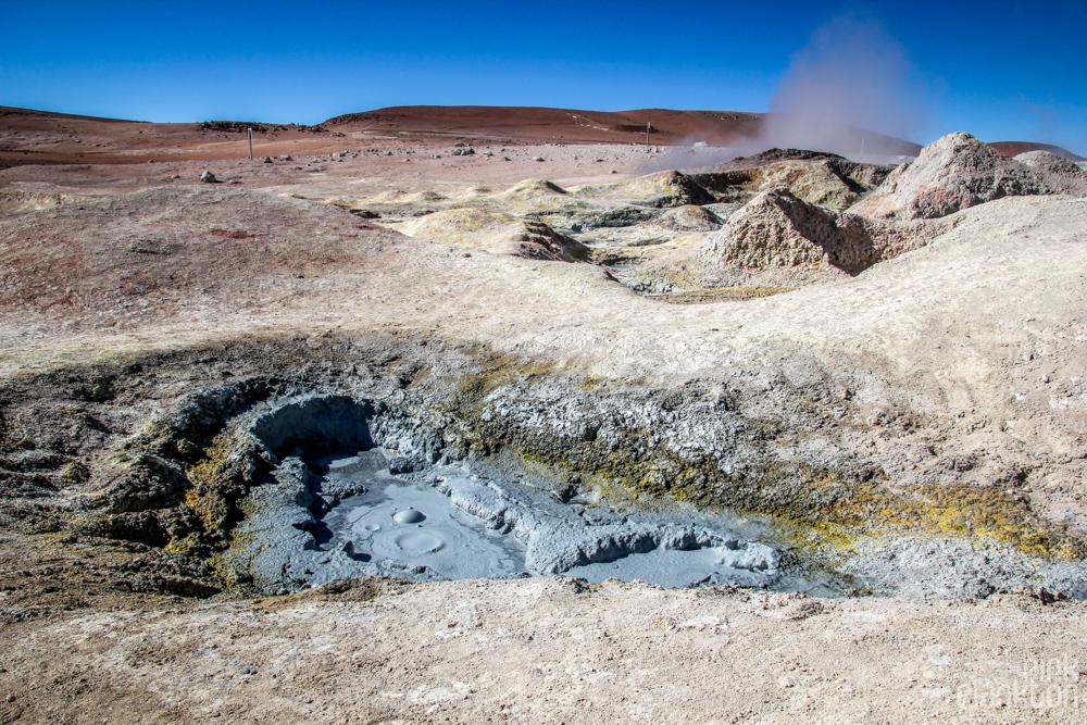 bubbling mud at Bolivia's Sol de Mañana geothermal volcanic area