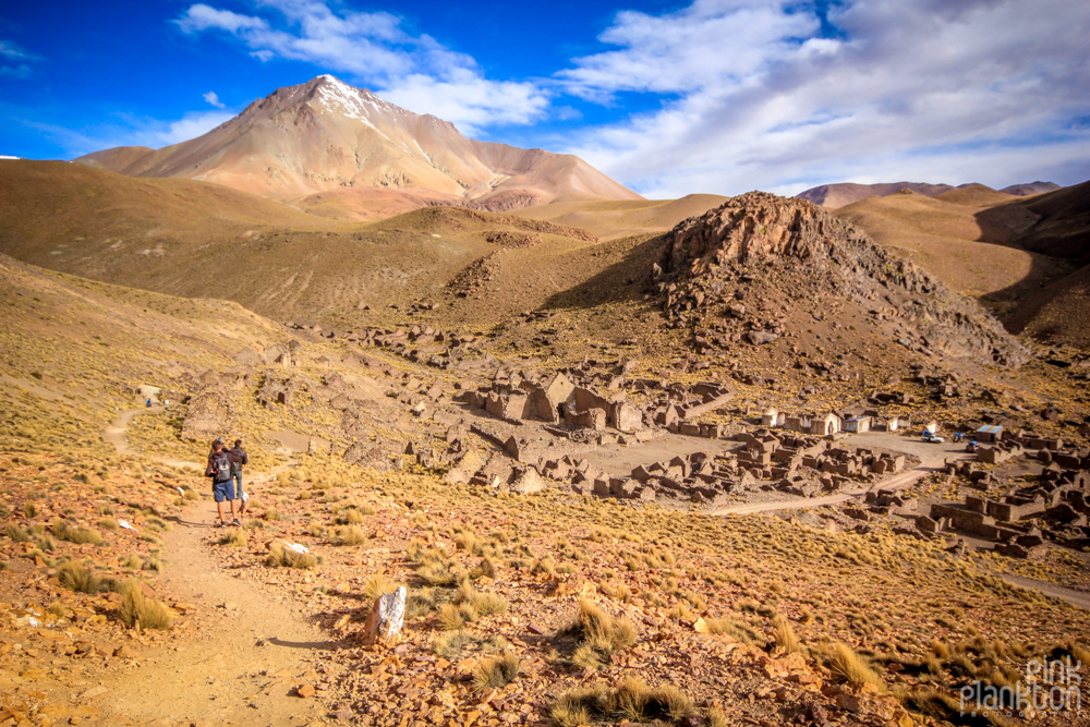 mountains and ruins of an abandoned ghost town Pueblo Fantasma in Bolivia