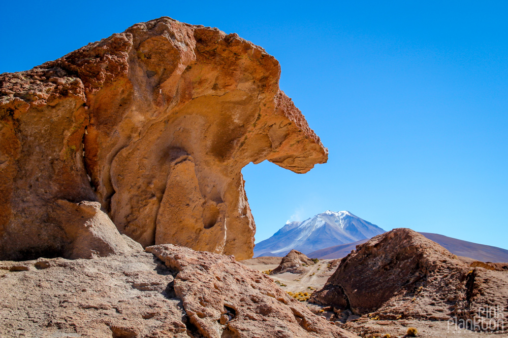 volcano and rock formation in Bolivia's desert