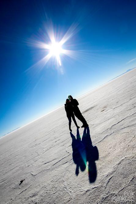shadows and sun on Bolivia's Salar de Uyuni