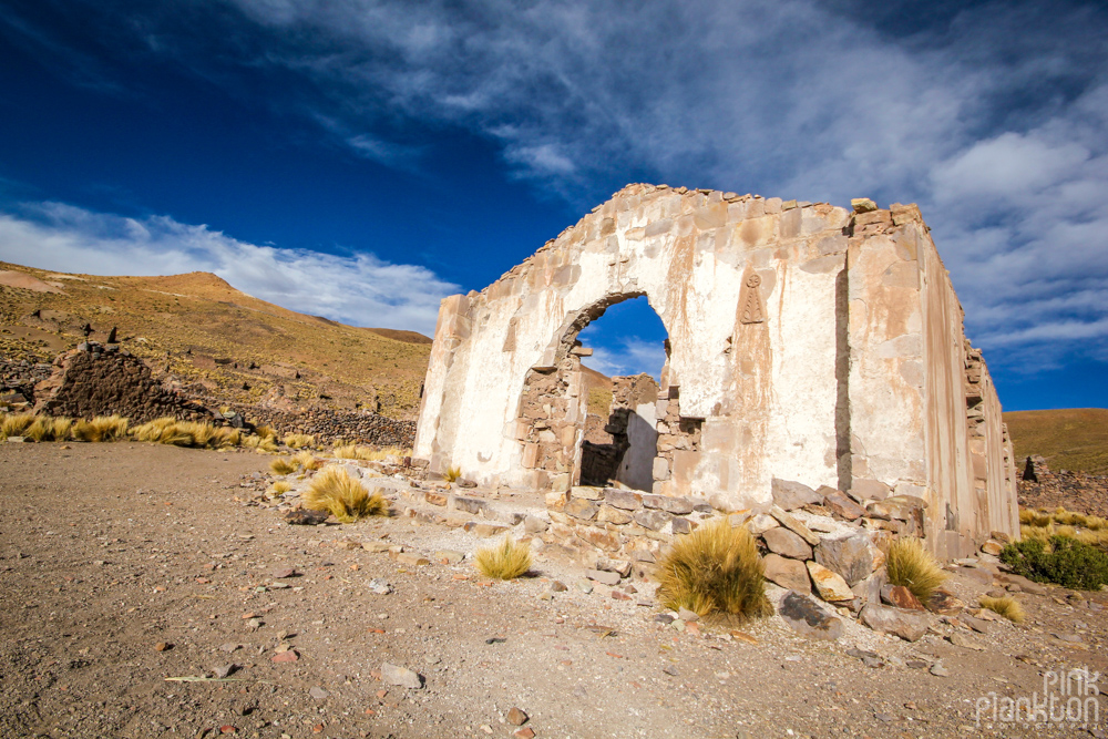 ruins of abandoned ghost town Pueblo Fantasma in Bolivia