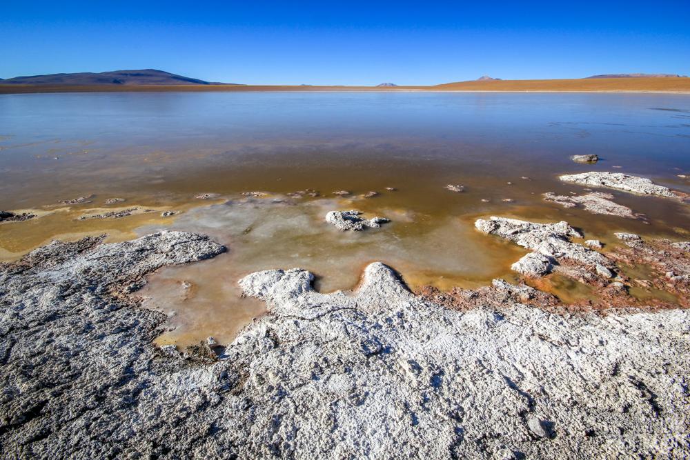 salt lagoon in Bolivia's desert