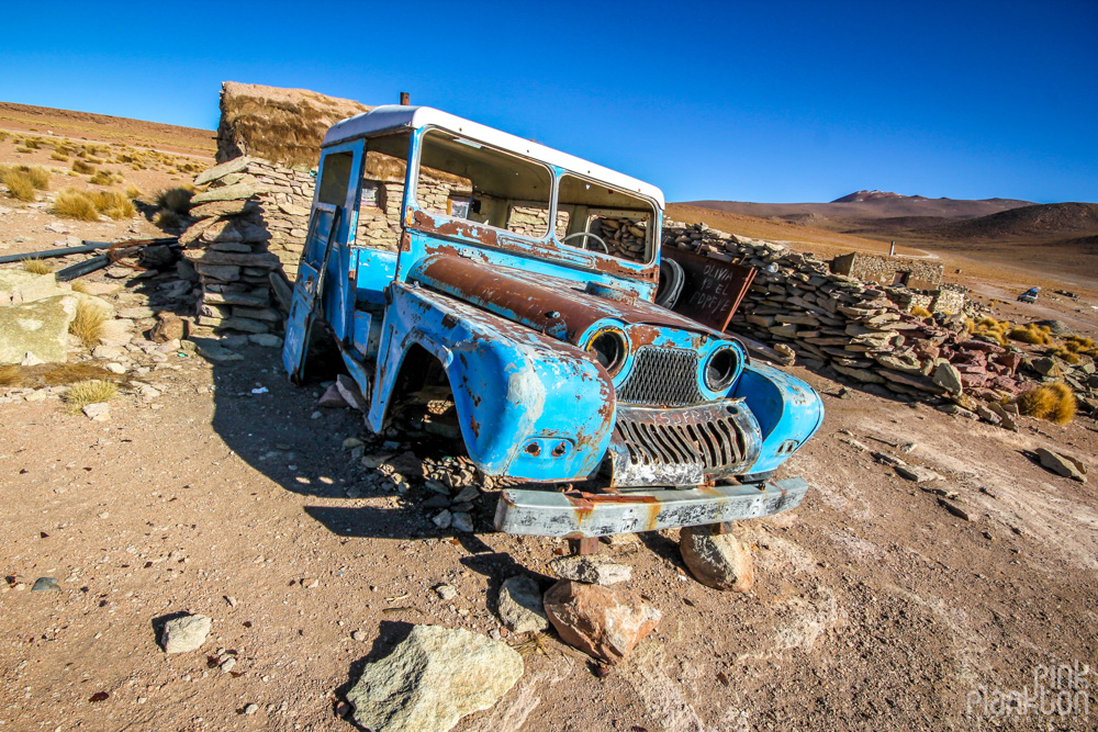 abandoned jeep in Bolivia's desert