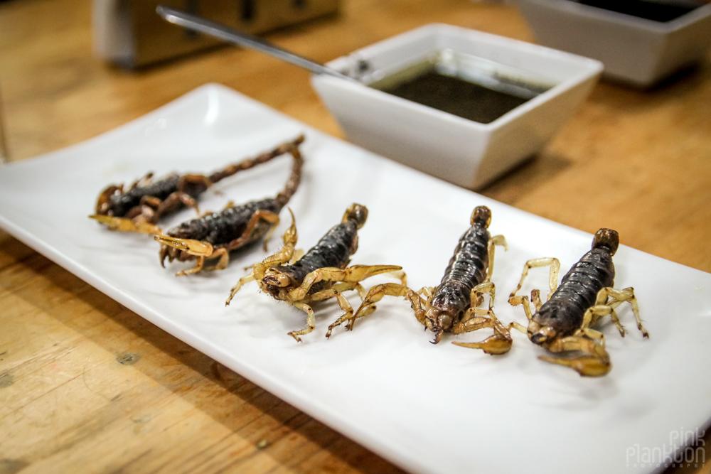 scorpions at Mercado San Juan Gourmet Market in Mexico City
