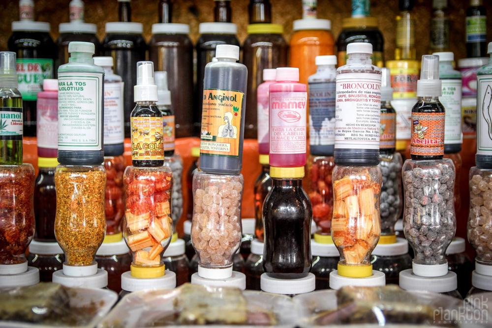 potions in Mercado Sonara Witch Market in Mexico City