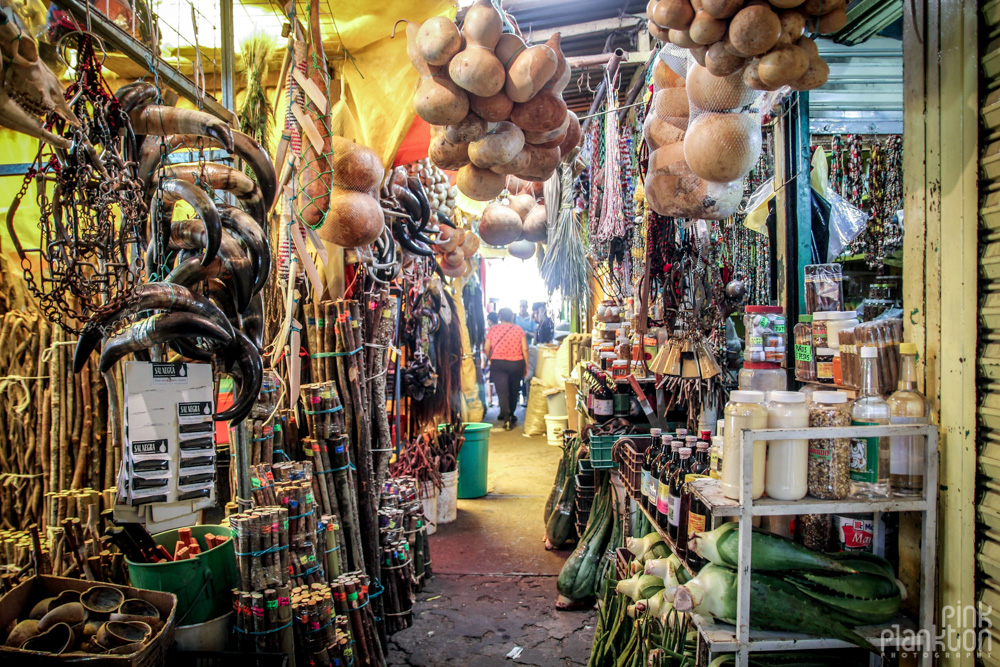 aisle of Mercado Sonara Witch Market in Mexico City