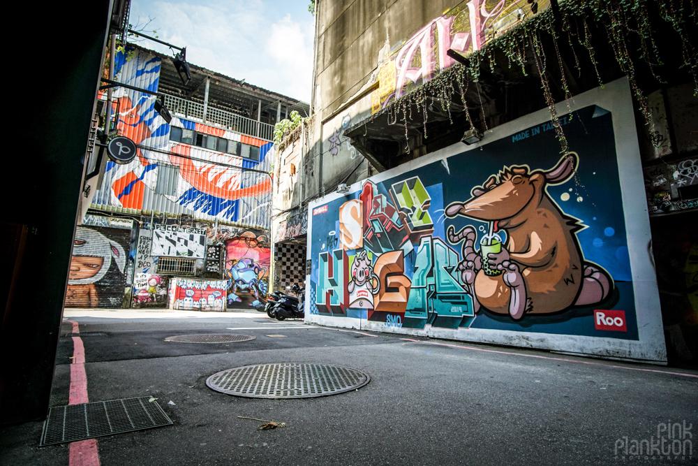 street art alley in Ximending, Taipei, Taiwan