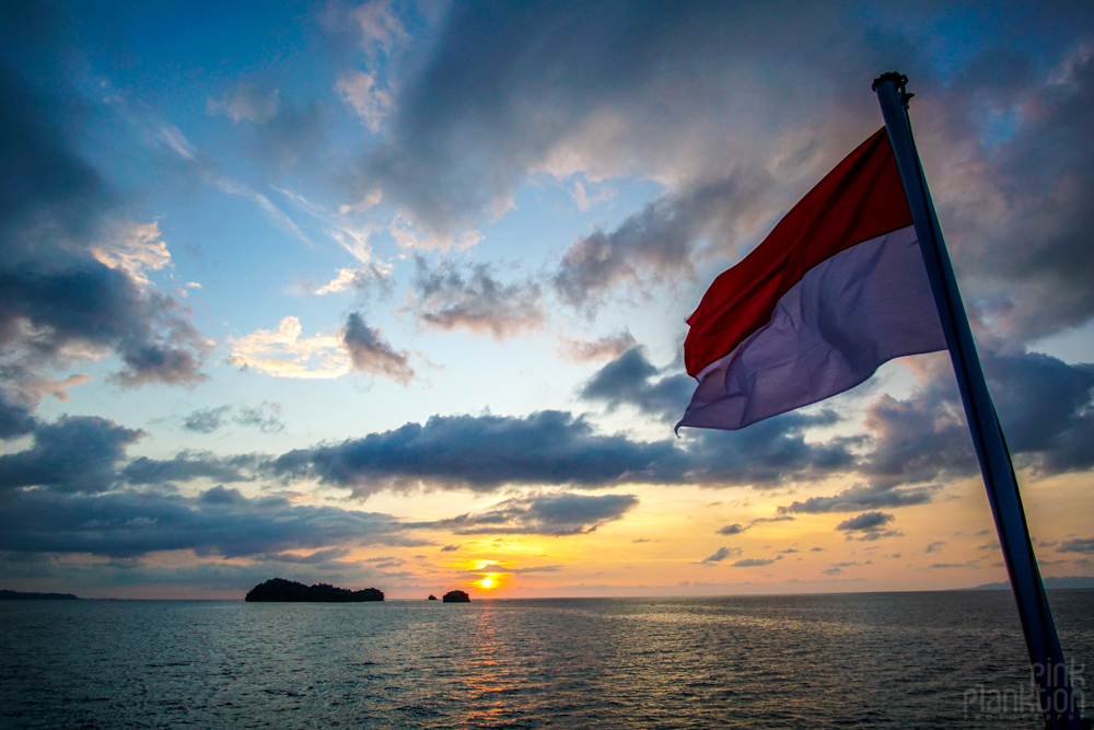 Indonesian flag on boat in Togean Islands