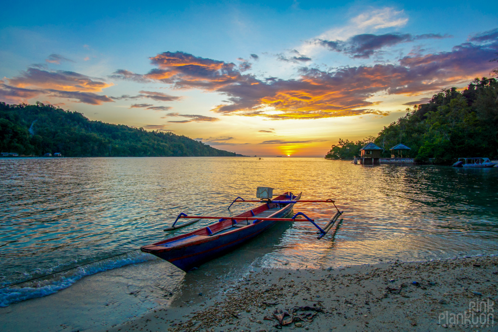 sunset at Fadhila Cottages in the Togean Islands