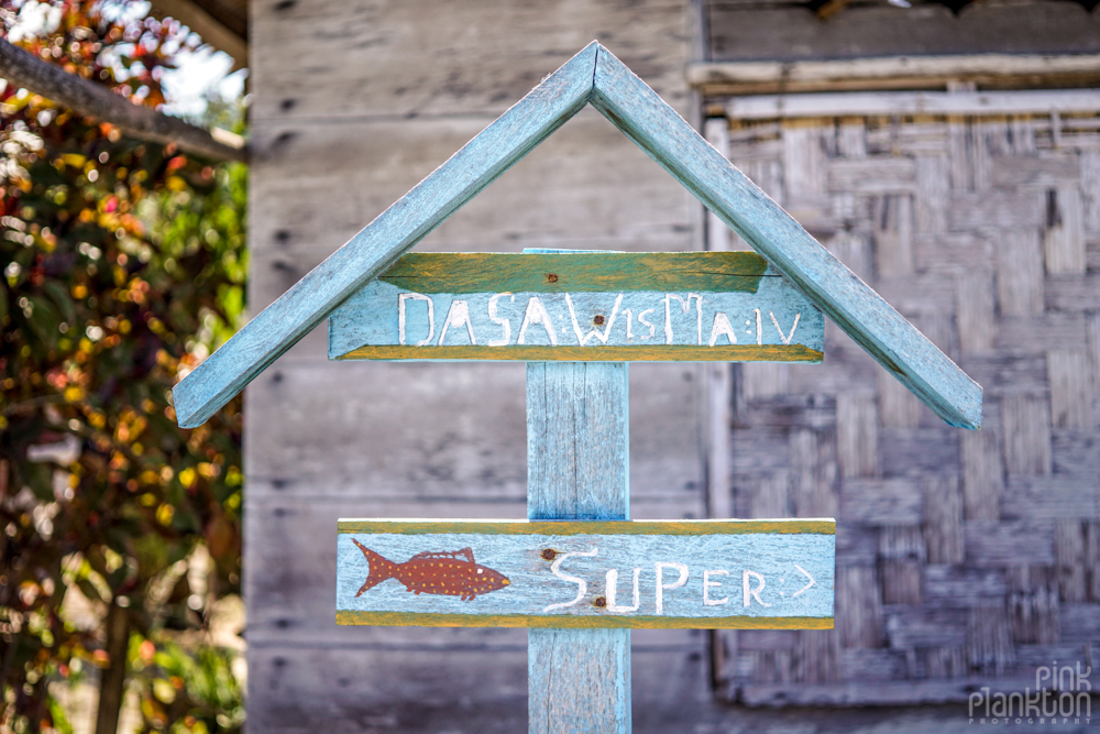 house sign in Malenge Village of the Togean Islands