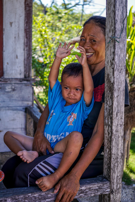 mom and kid in Malenge Village of the Togean Islands