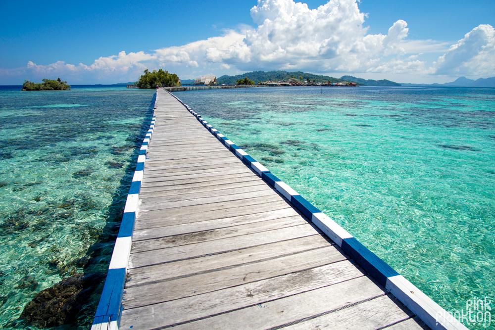 Pulau Papan bridge in the Togean Islands