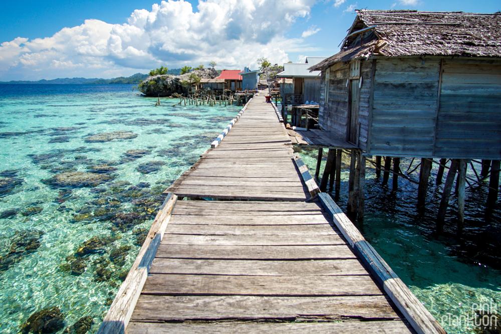 Pulau Papan bridge and floating village in the Togean Islands