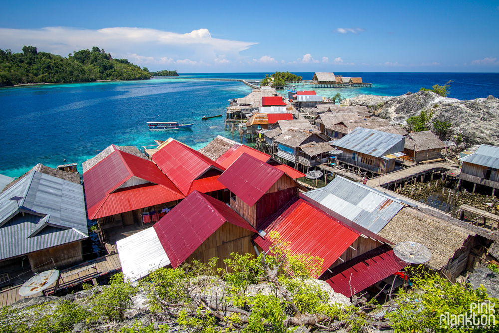 lookout of floating village on Pulau Papan in the Togean Islands